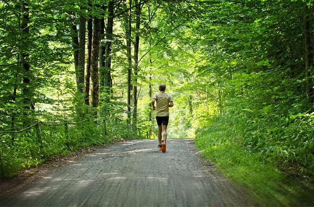 森でジョギング